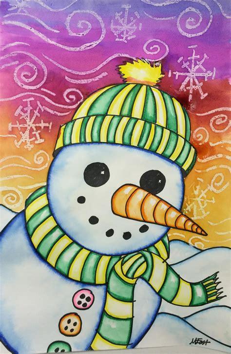 snowman painting  markers watercolor resist