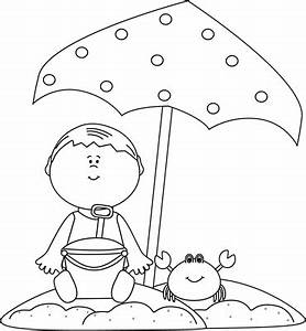 Black and White Boy Playing on the Beach Clip Art - Black ...