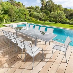Salon De Jardin 12 Personnes : salon de jardin piazza gris silver mat verre 8 12 ~ Dailycaller-alerts.com Idées de Décoration