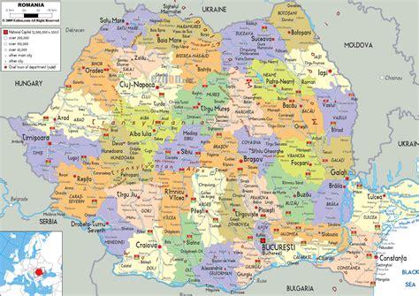 political map  romania ezilon maps