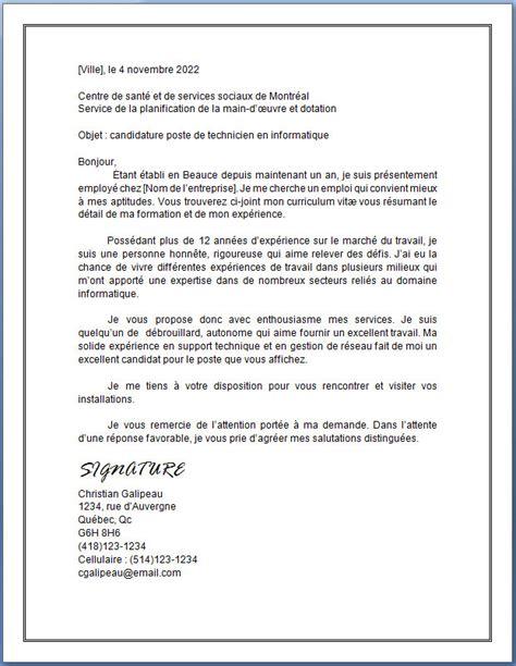 Exemple De Présentation De Cv by Resume Format Lettre Pr 233 Sentation Cv Qu 233 Bec