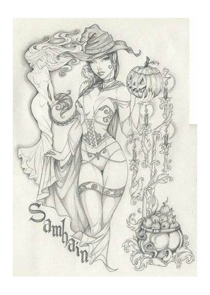 Coloring Adult Pages Books Samhain Fairy Deviantart