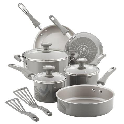 ray cooking pots pans cookware rachael piece stick non nonstick aluminum gray walmart kitchen
