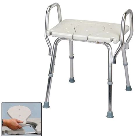 shower chair with arms and replacable cut out seat