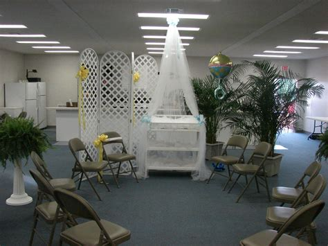 baby shower decor in church fellowship hall event and