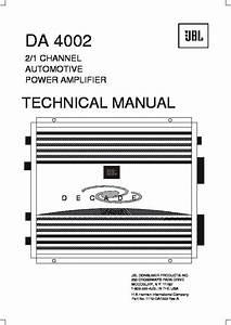 Jbl Da 4002  Serv Man14  User Guide    Operation Manual