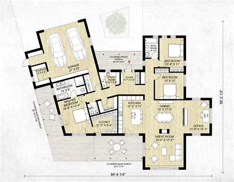 plano de casa con revestimiento de madera y 3 dormitorios en 1 planta planos de casas planos