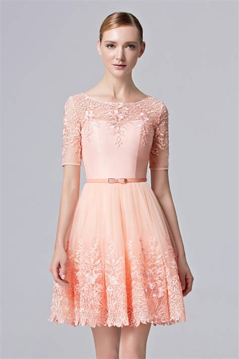 light pink cocktail dress prom dresses light pink sweetheart half sleeve