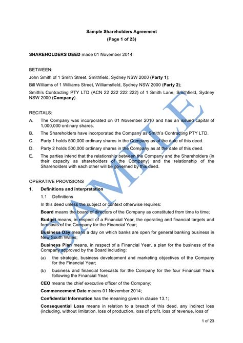 Simple Shareholders Agreement Template by Agreement Template Create A Shareholders Agreement