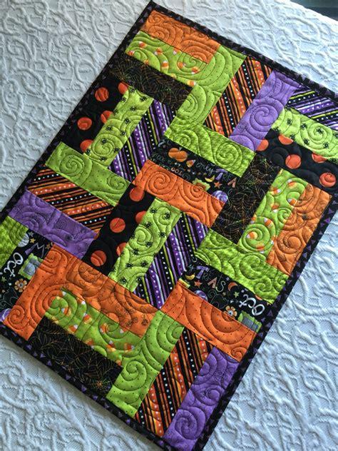 halloween quilted table runner halloween patchwork table runner quilt orange black lime