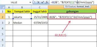 Cara Menggabungkan Tempat Dan Tanggal Lahir Excel
