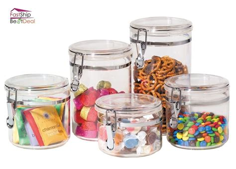 Kitchen Food Storage Canister Clear Acrylic Set Of 5 Jars