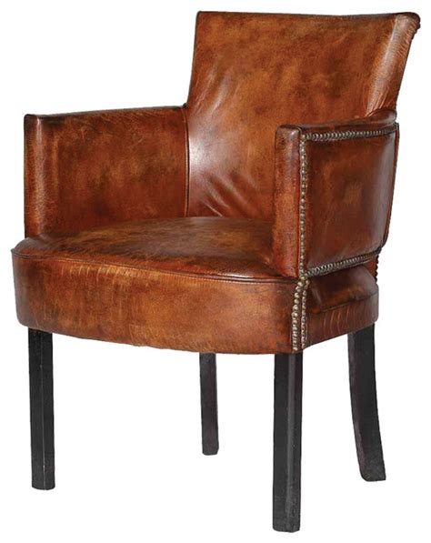 cigar leather upholstered arm chair contemporary