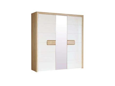 armoire 3 portes titziano blanc brillant et conforama