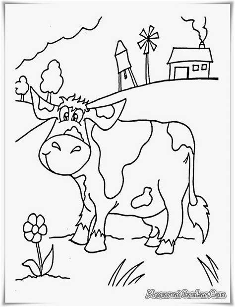 buku mewarnai gambar pemandangan peternakan sapi