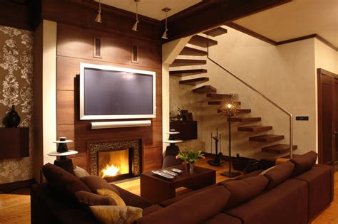 living room small and wooden staircases brick wall design 33 living room designs with beautiful woodwork throughout