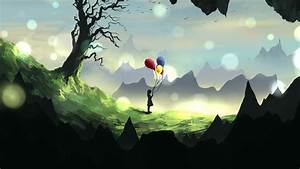 Download, Wallpaper, 3840x2160, Girl, Silhouette, Balloons, 4k, Uhd, 16, 9, Hd, Background
