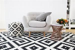 tapis noir et blanc scandinave bricolage maison et With tapis noir et blanc scandinave