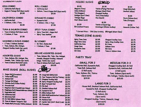 sushi garden menu sushi garden
