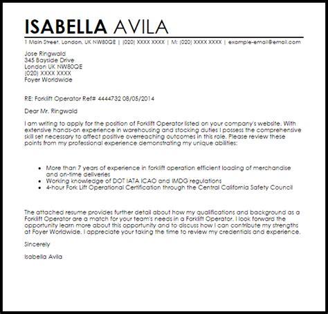 Forklift Operator Resume Cover Letter by Forklift Operator Cover Letter Sle Letter Sles Livecareer