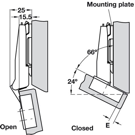 Concealed Cup Hinge, 125° Nexis, Sprung, For 24° Negative Angle Applications, Click On Arm