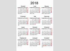 Kalendarium 2018 w formatach EPS, PDF, CDR do pobrania
