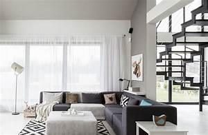 canape gris moderne 55 modeles dangle ou droits fonces With tapis d entrée avec coussin canapé cuir noir