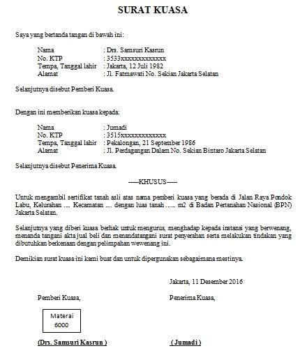 contoh surat kuasa pemakaian atm kumpulan contoh surat