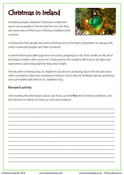 christmas worksheets in irish research activity christmas in ireland primaryleap co uk