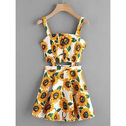 a340ff25e7e White Sunflower Print Single Breasted Cut Out Dress