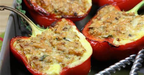 recette poivrons rouges farcis au thon  au fromage