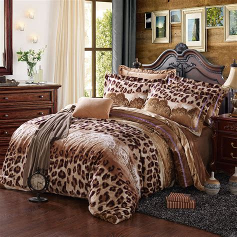 flannel comforter cover set brown leopard warm bedding set