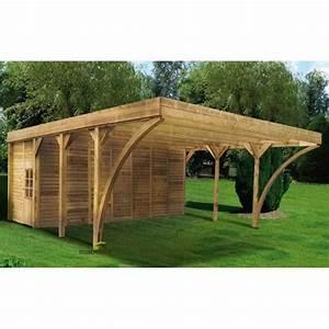 Carport 2 Voitures Bois : carport double en bois madeira aymar 42 11m 2 voitures ~ Dailycaller-alerts.com Idées de Décoration