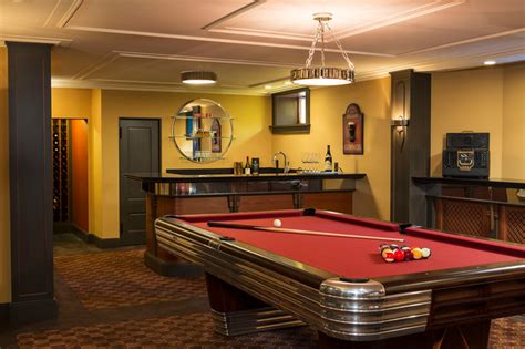 space for pool table art deco entertaining traditional basement
