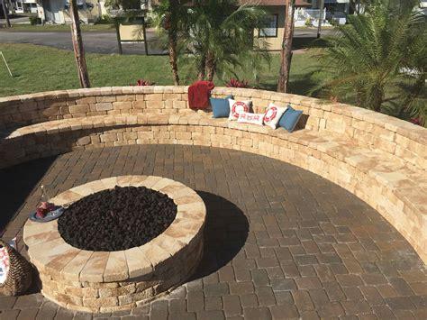 Large Circular Sitting Bench & Fire Pit  Elite Pavers Of