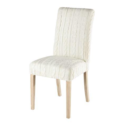 housse de chaise blanche housse de chaise tricotée blanche margaux maisons du monde