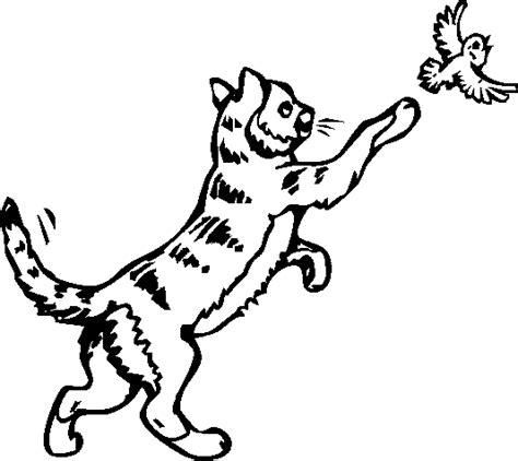 coloriage dun chat qui court apres  oiseau