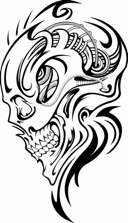 Skull Tattoo Tattoos Drawings Stencil Drawing Sleeve