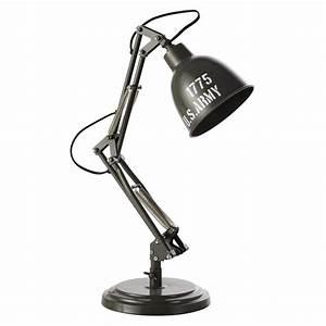 Lampe De Bureau Fille : lampe de bureau en m tal vert h 46 cm paterson army ~ Dallasstarsshop.com Idées de Décoration