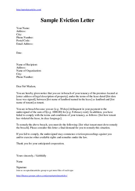Letter Template Eviction Letter Exle Mughals