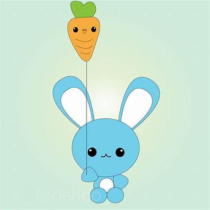 Kawaii Bunny Balloon Carrot Conejito Imagenes Conejitos