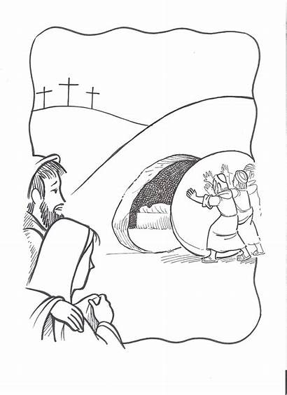 Jesus Tomb Coloring Empty Pages Lazarus Burial