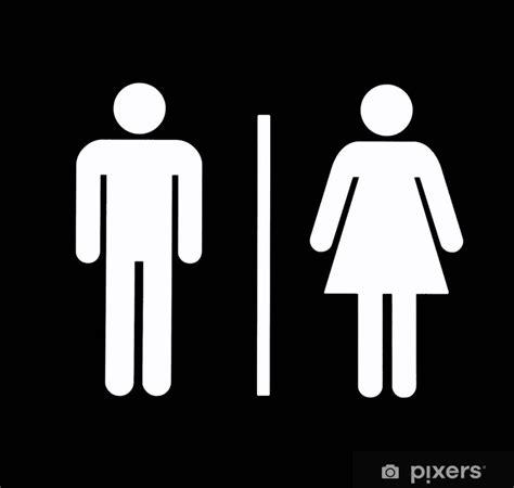 unisex bathroom symbol wall mural pixers