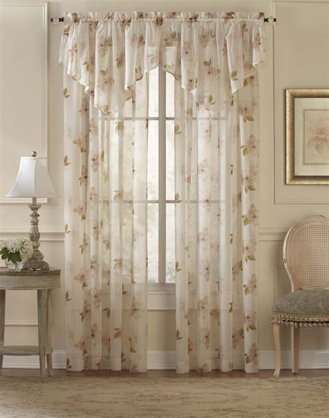 waterlilly scroll floral sheer curtain panel