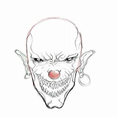Clown Scary Drawings Evil Drawing Clowns Coloring