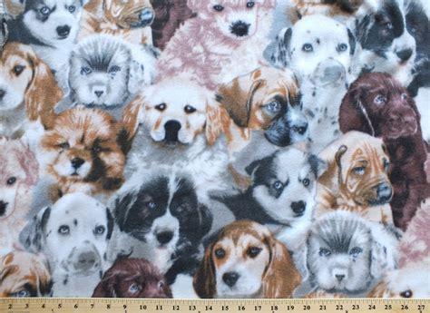 puppies dogs fleece fabric print   yard ab