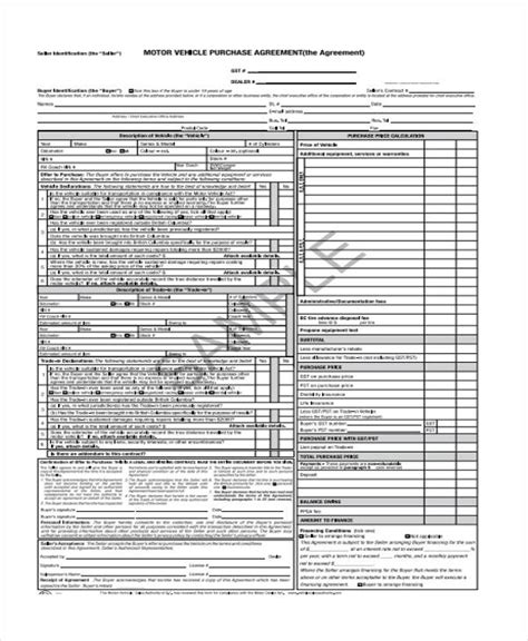 vehicle purchase agreement form samples  sample