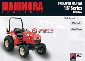 Mahindra Tractor 16 Series 2816 Gear Operator Manual