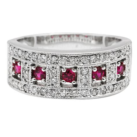 wide  white gold pave diamond ruby vintage style