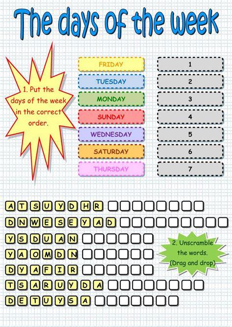 kindergarten days   week  spanish worksheet